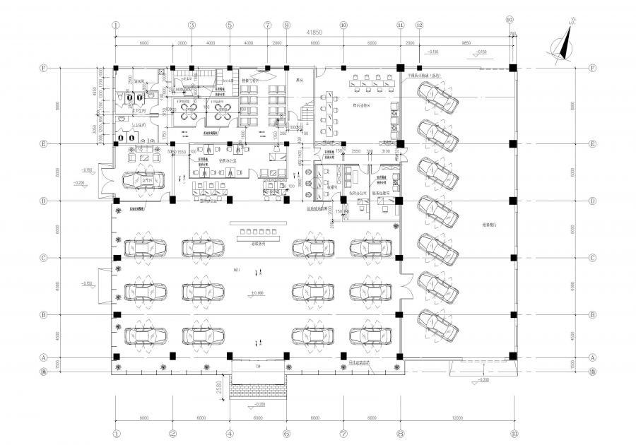 北京现代汽车4S店(抚顺店) 一层平面图