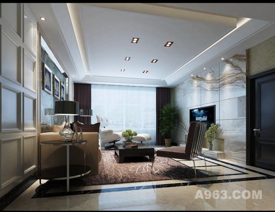 客厅电视背景墙与沙发背景墙均采用石材铺就,这在小户型空间中比较少见,设计师却通过质感将二者协调起来,色系上的深浅对搭,让原本平凡的空间立时变得深刻起来,石材肌理的相互呼应,使空间得以延伸。