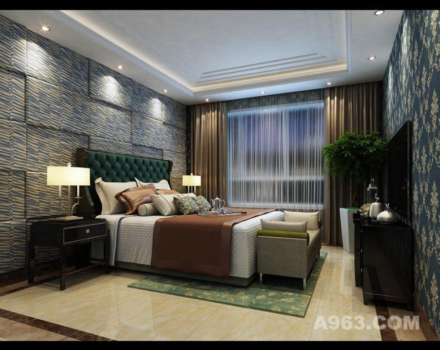 主卧仿照星级酒店采用多层次立体式辅助光源,床头背景墙采用一整面硬包造型,具有极强的装饰性,同时还具有吸音、隔音的功能。