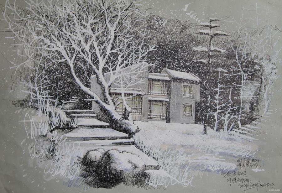 """一个漫天飞舞的大雪天,日本一禅师静坐于茶室,凝视着室外纷飞的雪花,坐了一会儿,他便起身进屋,随后将一个陶罐置于庭院中,然后,坐在榻榻米上,陶醉地注视着陶盆与飞舞的雪花。一旁的徒弟很是迷惑,不解其意,茶师答道:""""我在欣赏花道""""。"""