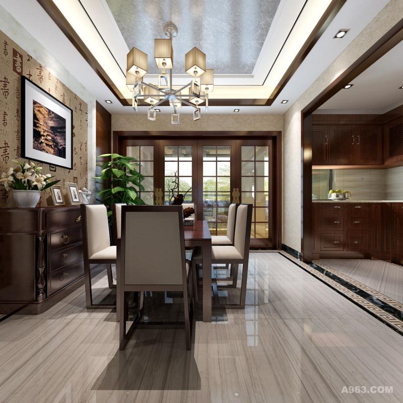 餐厅效果,主要采用硬朗简洁的直线条,空间具有层次感。既使得中式家具古典、质朴的内涵显现,又符合现代人追求的时尚感、实用性。