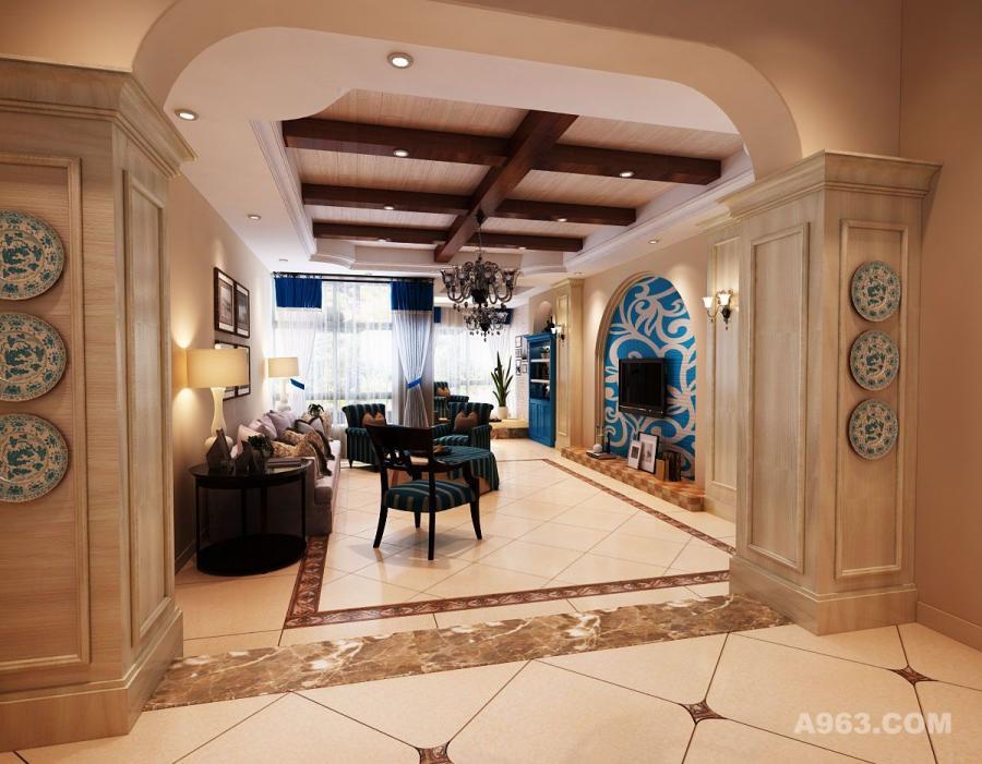 近似空旷的客厅的空间,上有装饰木梁,下有仿古砖的造型美观,大方典雅;