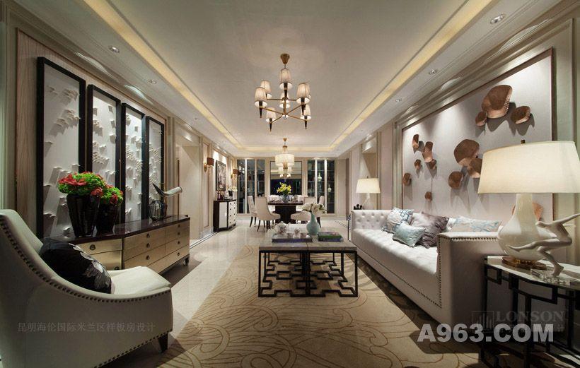 图二:昆明海伦国际米兰区的样板房设计 客厅全景
