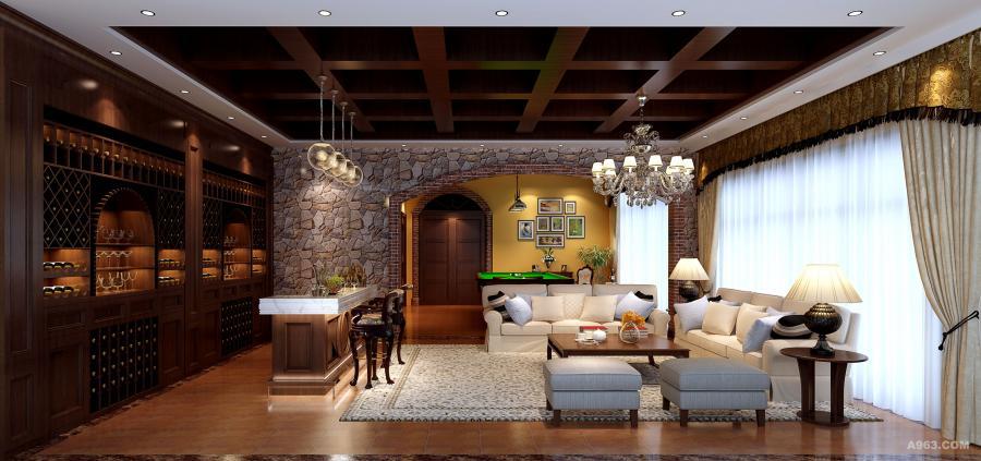 地下室空间:以休闲为主,主要是酒窖及桌球室等多功能娱乐空间。浅色系的沙发、木制家具搭配一株绿色的植物,传递着简洁、舒适的气息,在淡黄色光线的映衬下,呈现出雅致浪漫的韵味。明亮的光线从宽大的窗户照进,让客厅空间显得宽敞大气。
