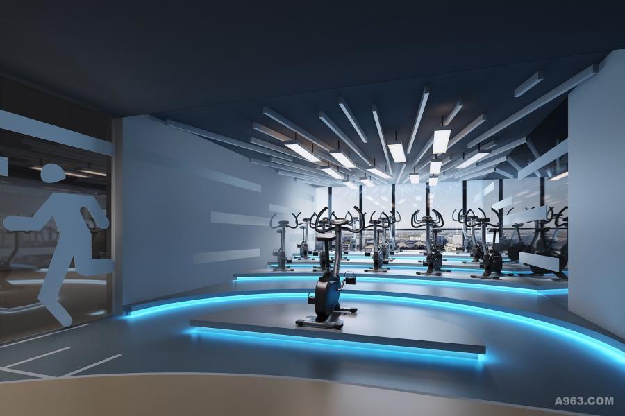 教室以蓝色灯带作为点缀,给人以超时空的健身体验。