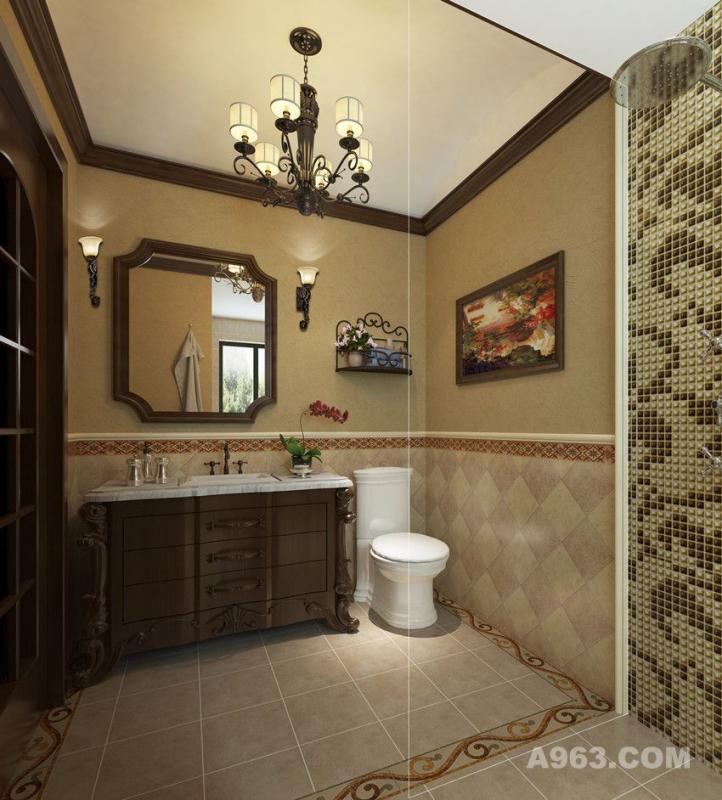 卫生间的地板采用了防腐木和大理石台面与墙面的搭配,褐色的色彩搭配让人更有质朴的感觉。