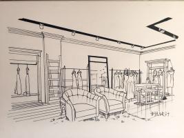 服装店面空间手绘