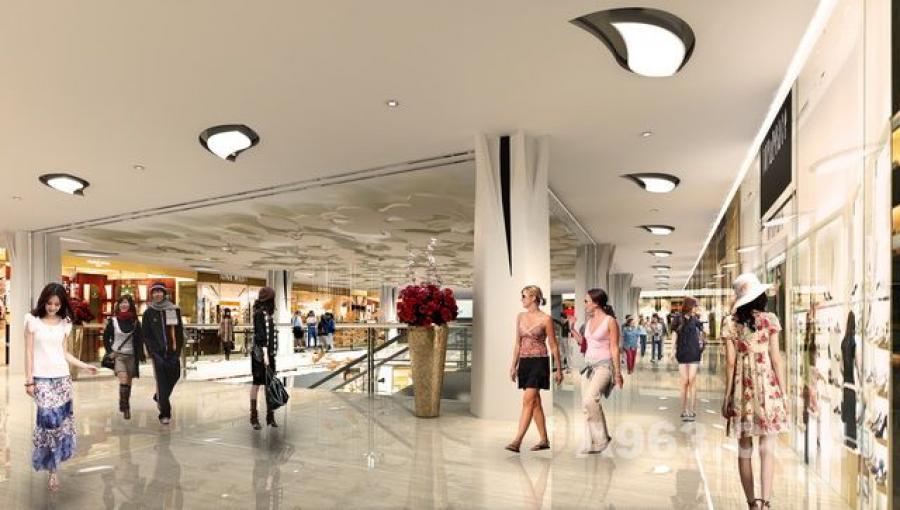 商场装修设计案例:江门中嘉广场大堂室内效果图(角度一)