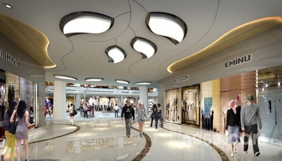 商场装修设计案例:江门中嘉广场大堂中庭效果图