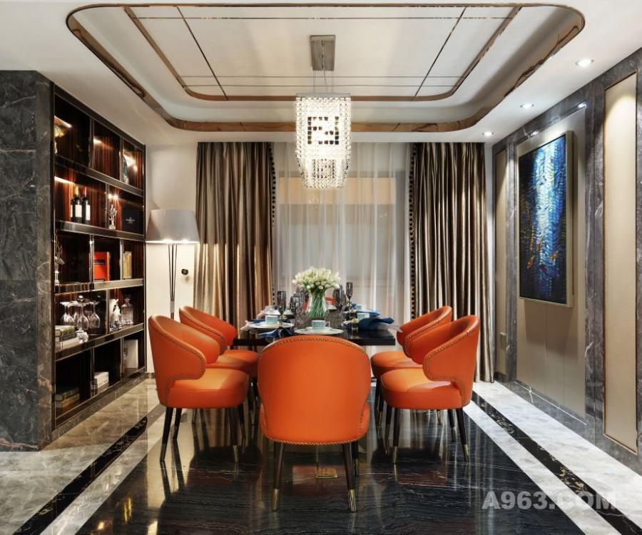 餐厅笔直的线条犹如一道灵动的光束拉开空间的维度,样式的重新组合与品质承袭,让空间集,沉稳、现代、雅趣;生动巧妙地并置在一起。