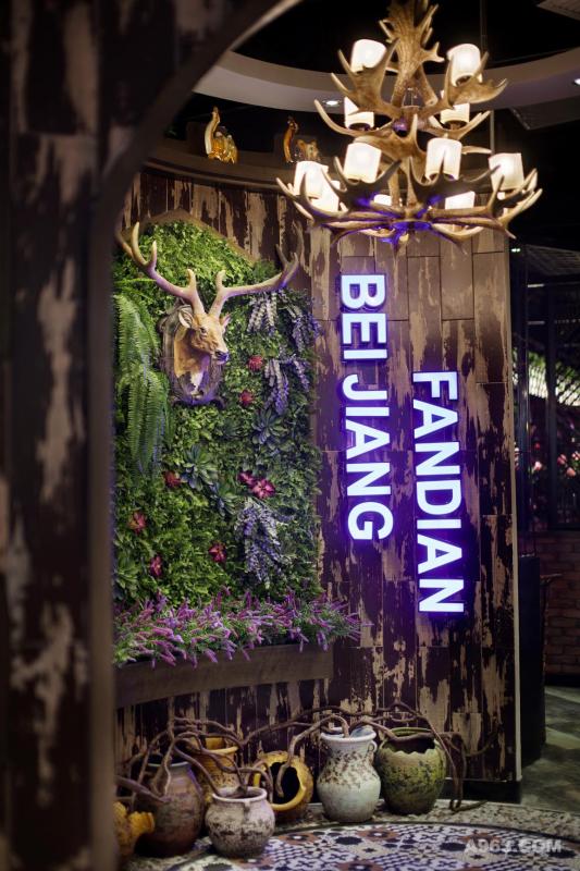 形象墙上的鹿头看起来庄严肃穆,周围铺满代表新疆高山草甸生态景观的绿植,用以展现餐厅的原生态特色。看似随意实则精心放置的枯藤与陶土罐,让整个形象墙看上去更加原始而具有西域风情。