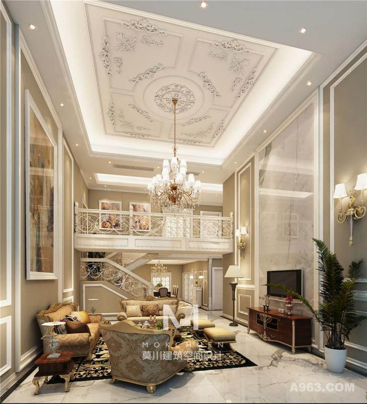 客厅(平直楼梯):细节处理上运用了法式唯美的雕花,线条制作工艺精细考究。卡其色乳胶漆做底,白色线条做装饰,点缀在自然中,崇尚冲突之美。