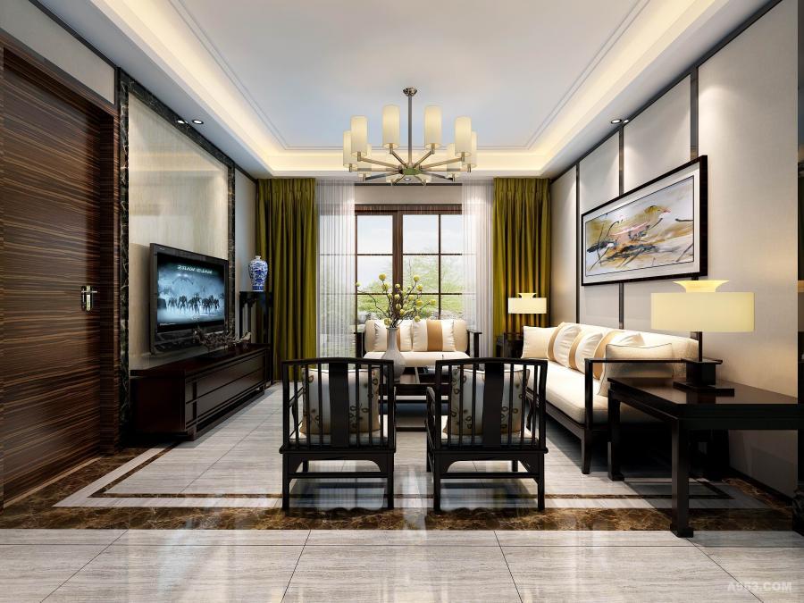 合肥绿城玫瑰园180平新中式 客厅