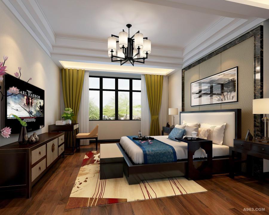 合肥绿城玫瑰园180平新中式 卧室