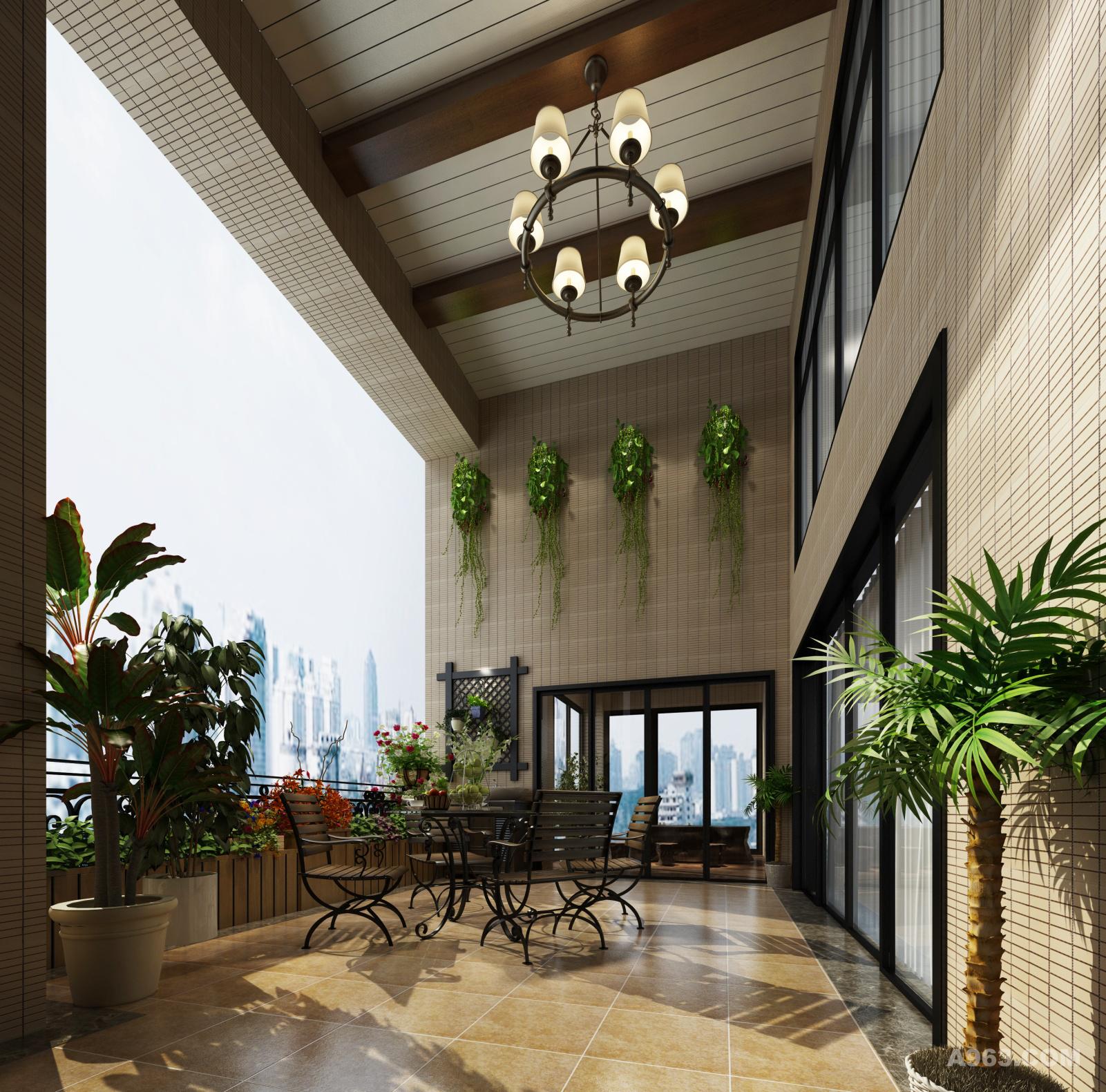 阳台又是一个简美风格的索引,木饰,铁艺,吊灯, 且与自然融为一体。享受一个下午茶的时光。