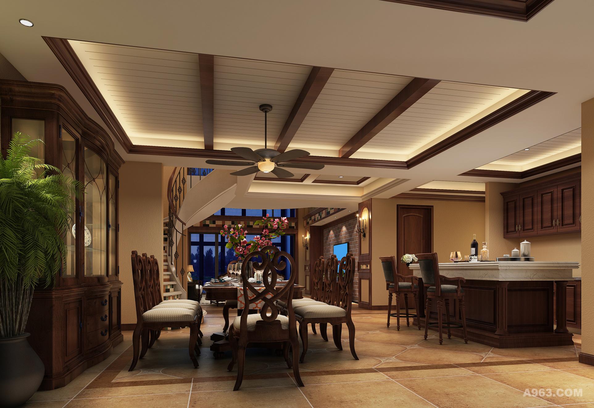 怀旧风格的餐桌,岛台,以及展示柜充满了美式的的味道,正宗的美式风格色彩,无论是地板还是餐桌都带着浓浓的怀旧风。木饰吊顶,铁艺吊扇,在这个每天家人团聚享受美食的地方,充满了温馨,浪漫 ,其乐融融的家庭氛围。