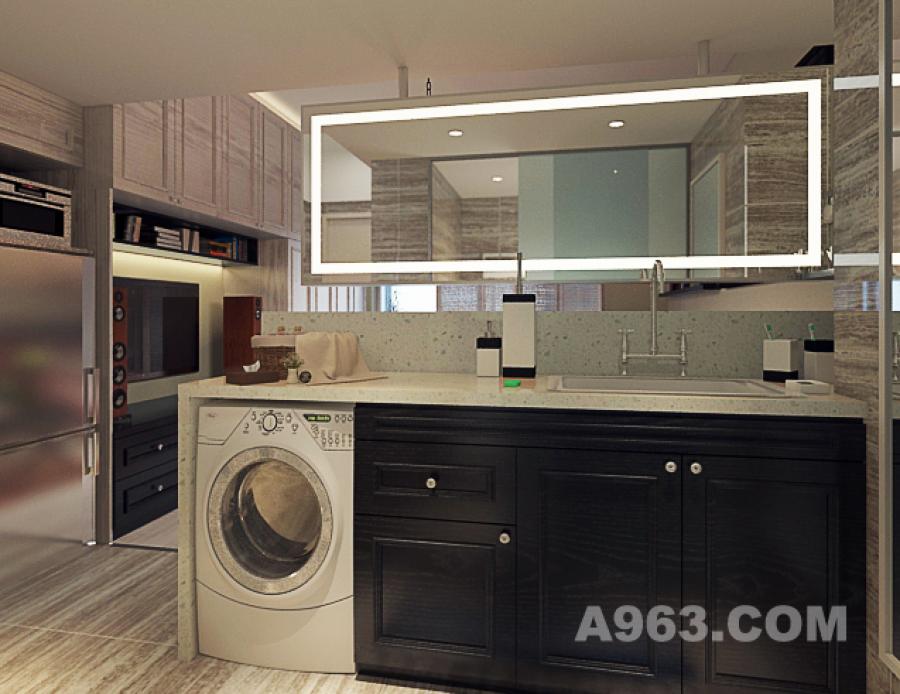 卫生间洗手台、洗衣区、化装柜