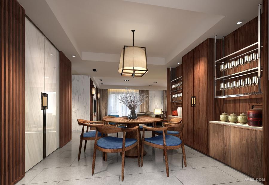 餐厅的实木栅格屏风搭配白色石材推拉门,实木酒柜搭配不锈钢吊架,现代简约的灯具和家具,营造了一个时尚的就餐空间
