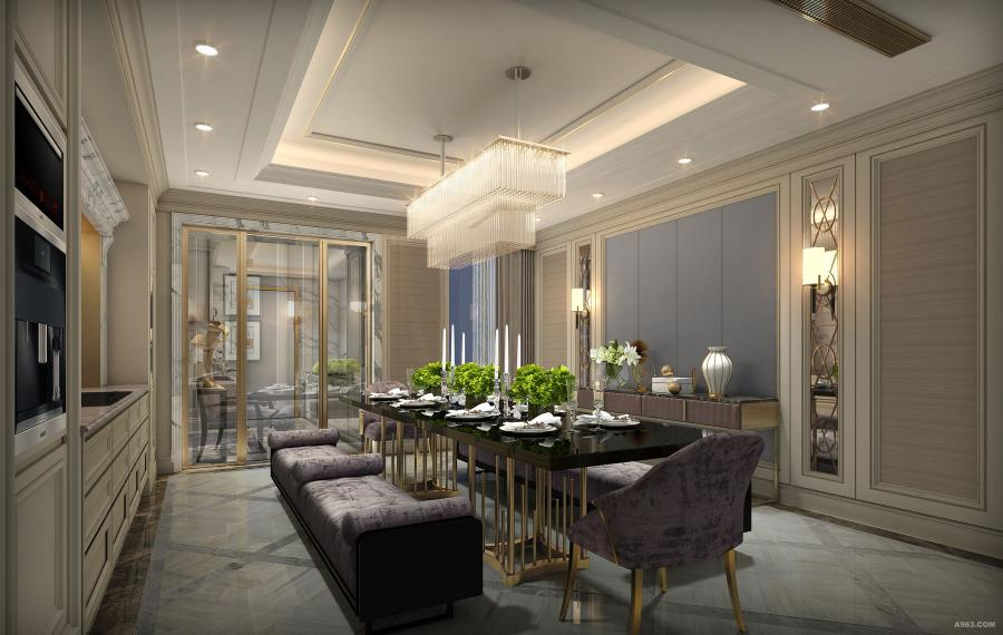 餐厅空间的设计,回归了初始的欧式情怀,皮质的质感与布艺融合,都混进了法国的活跃浪漫。
