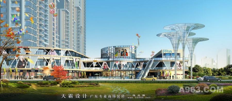 精美外立面设计效果图 时尚城市综合体设计效果图