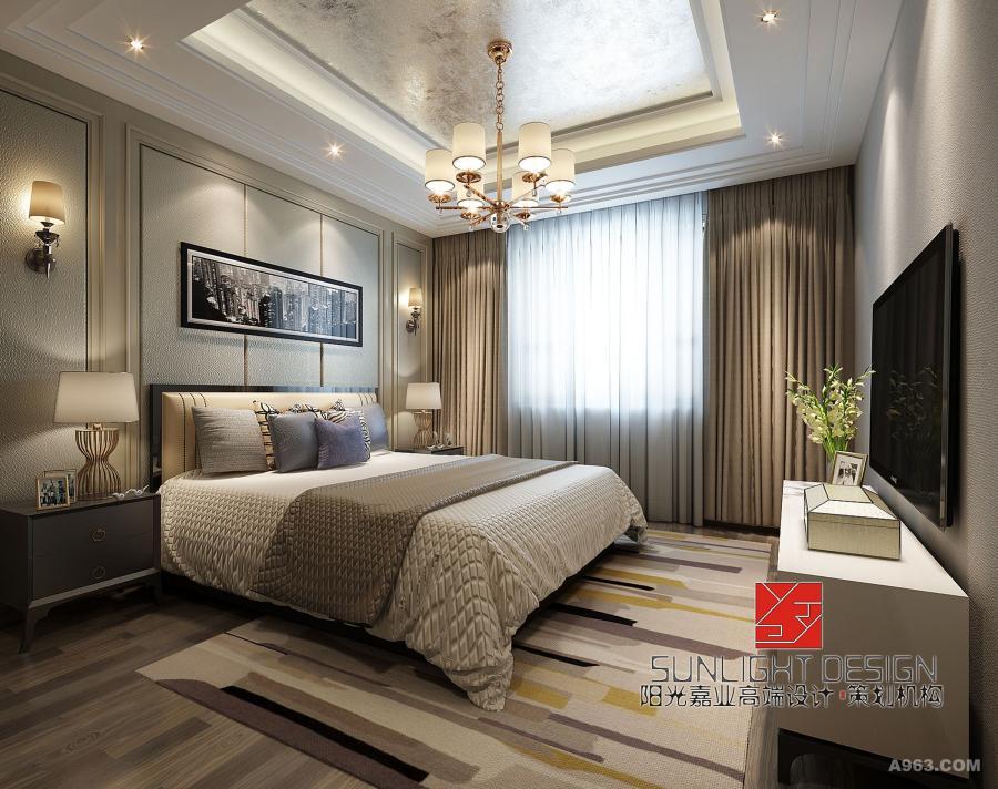 【主卧室】卧室背景设计线条简约利落,优雅温馨。