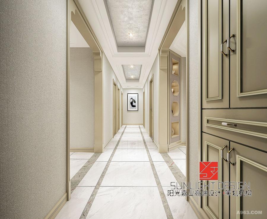 【玄关】门厅入口给人清朗开阔的视觉印象,走廊尽头以现代装饰画为点缀;嵌入式的鞋柜不仅保证了空间的储物机能,还巧妙地节省了空间,美观实在。