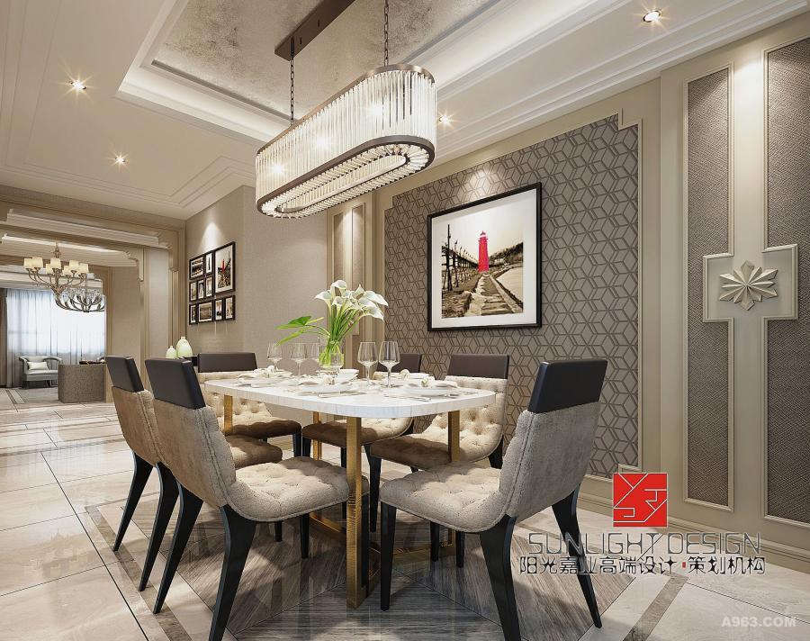 【餐厅】水晶吊灯彰显优雅,白色餐桌搭配精致的软包坐凳,给人带来舒畅与自由感。