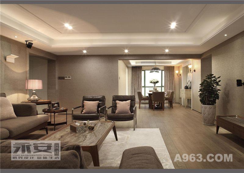 客餐厅全景:通过大色块使空间视觉得以延伸,纯净暖和的颜色令整个空间充满居家氛围 ,使空间更具张力同时体现出空间的品质感。