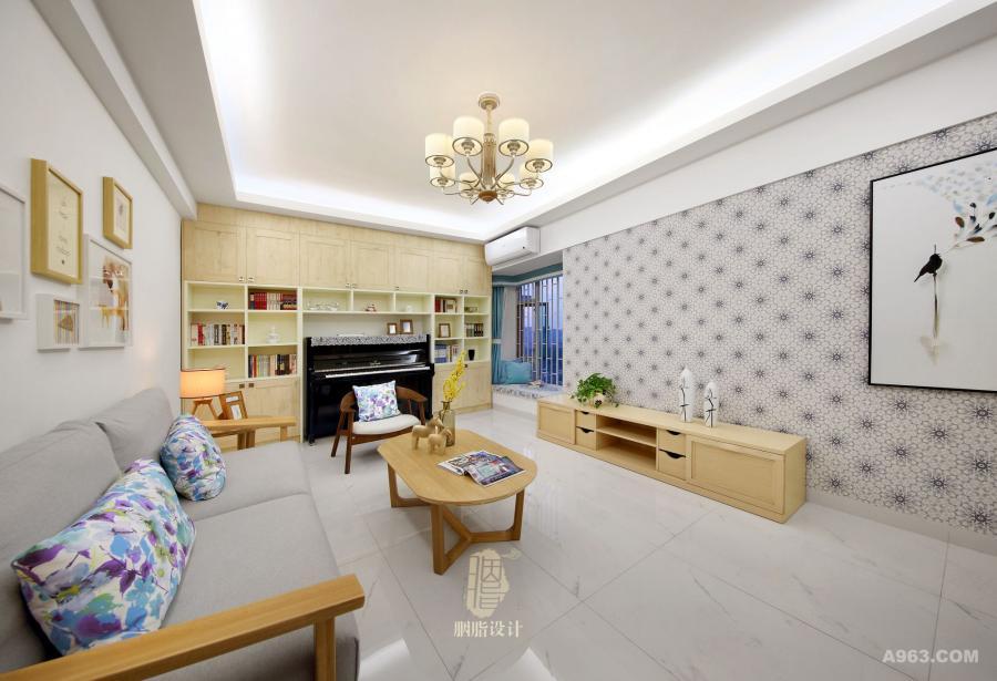 客厅到顶的柜子增加收纳空间,并预留空间放置钢琴