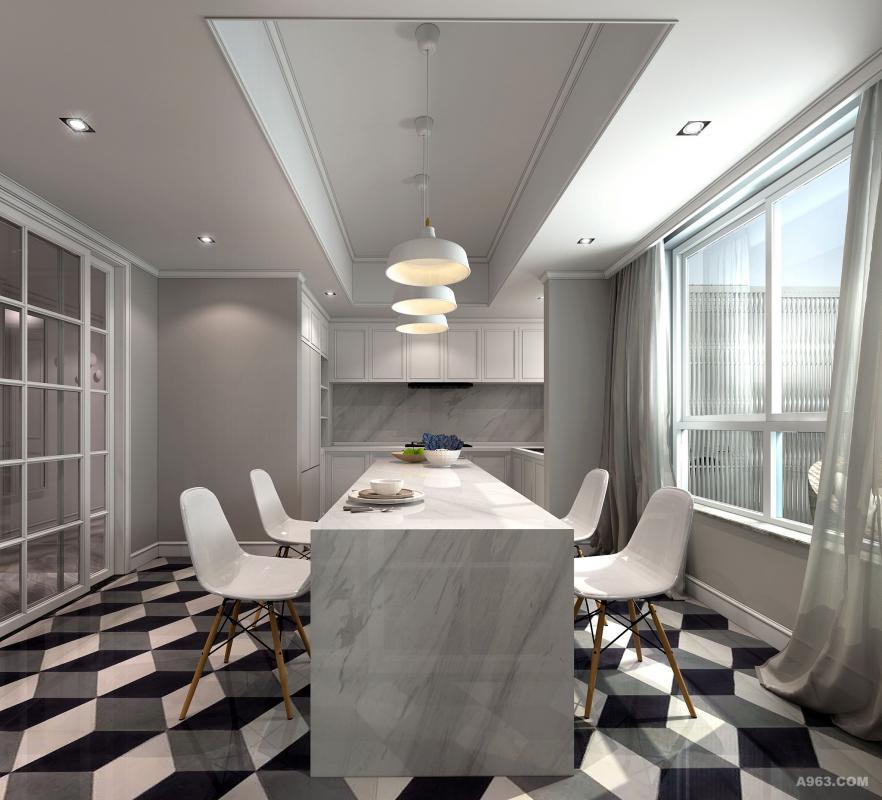 黑白灰几何图形地板低调却个性,餐桌选用品质感的白色大理石,和许多女生一样,张小姐热爱烘焙,在窗外风景下做出的蛋糕面包定会更美味。