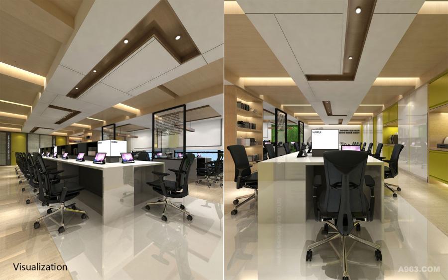 公共Office空间的效果图与实景图对比。