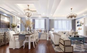 南方明珠三室两厅142平美式风格装修
