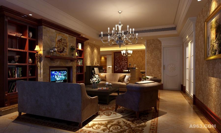 起居室摒弃了过多的繁琐和奢华,兼具古典主义的优美与新古典主义的功能配备,既简洁明快,又具有温暖舒适之感。壁炉式的电视背景墙具有没事装修风格特色,酒红色实木饰物柜,装点了复古美式的感觉,让客厅给人眼前一亮的感觉。