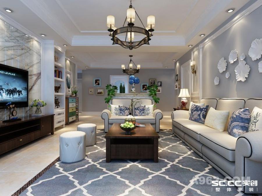 实创装饰【盛世长安】简约美式三居,再现美式经典-客厅整体装修效果图