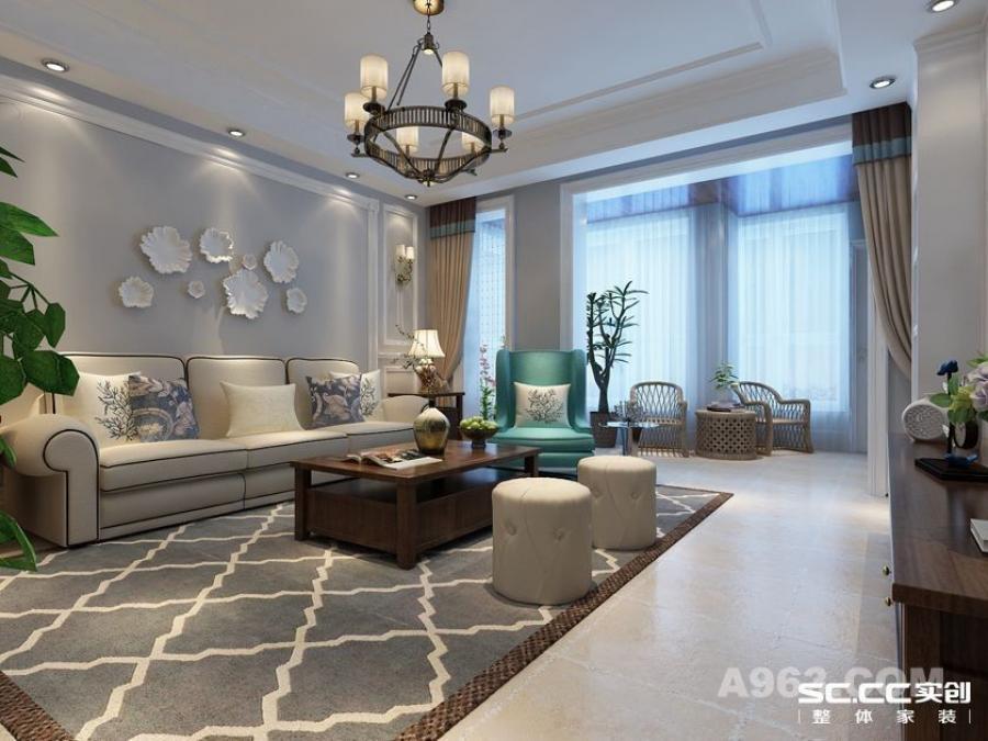 实创装饰【盛世长安】简约美式三居,再现美式经典-客厅沙发背景墙装修效果图