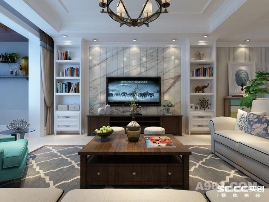实创装饰【盛世长安】简约美式三居,再现美式经典-客厅电视背景墙装修效果图