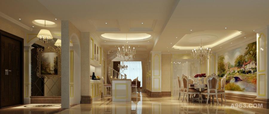 餐厅/玄关:和谐统一,部分独具个性。采用米色为主色调,少量的金色点缀,提升了空间的优雅气质,趣味而又充满力量,营造了整个交流空间的尊贵感。