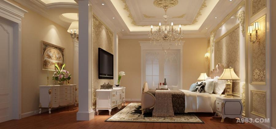 主卧:卧室与衣帽间相通,延续了客厅少量金色点缀的特色,共同表达了一种法式贵族生活的悠闲和浪漫。