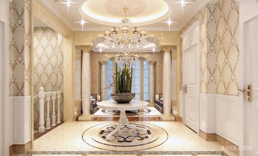 玄关(平直楼梯):细节处理上运用了法式唯美的雕花,线条制作工艺精细考究。白色线条做装饰,点缀在自然中,崇尚冲突之美。