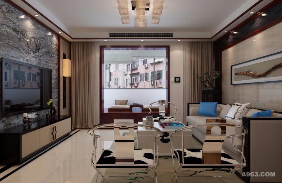 在现代元素中,主要以简单,明快,科技为主,金属材质的座椅,大理石板的电视背景墙,现代化的家庭设备与中国特有的鸟笼,盆景元素形成了鲜明的对比,造成现代艺术与传统结构的碰撞,客厅与阳台紧密相连,形成一个开放式的会客空间,阳台采用榻榻米的形式,既可喝茶谈心也可下棋阅读,拉上窗帘又是个私密空间,用于心情的放松与沉淀。底下是隐藏的储物格,存放一些杂物。设计中既不失中式的儒雅同时还体现了现代的生活品质。在客厅处,设计师放弃了房屋主色调的木质茶几,而是选用灰色大理石作为材质,这种跳跃的搭配使得与房屋整体感觉相得益彰,似与三五好友林间石桌畅谈,清水在旁潺潺。并且还使特定的空间里增加了亮度,在幽静的氛围中添加了一丝活跃。