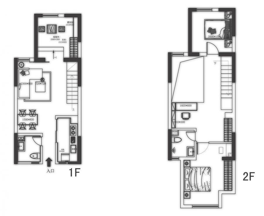 小平数的复式户型,两层加起来面积只有95平方米,三室两厅的格局。 层高低,采光不足,成为急需解决的两个问题。