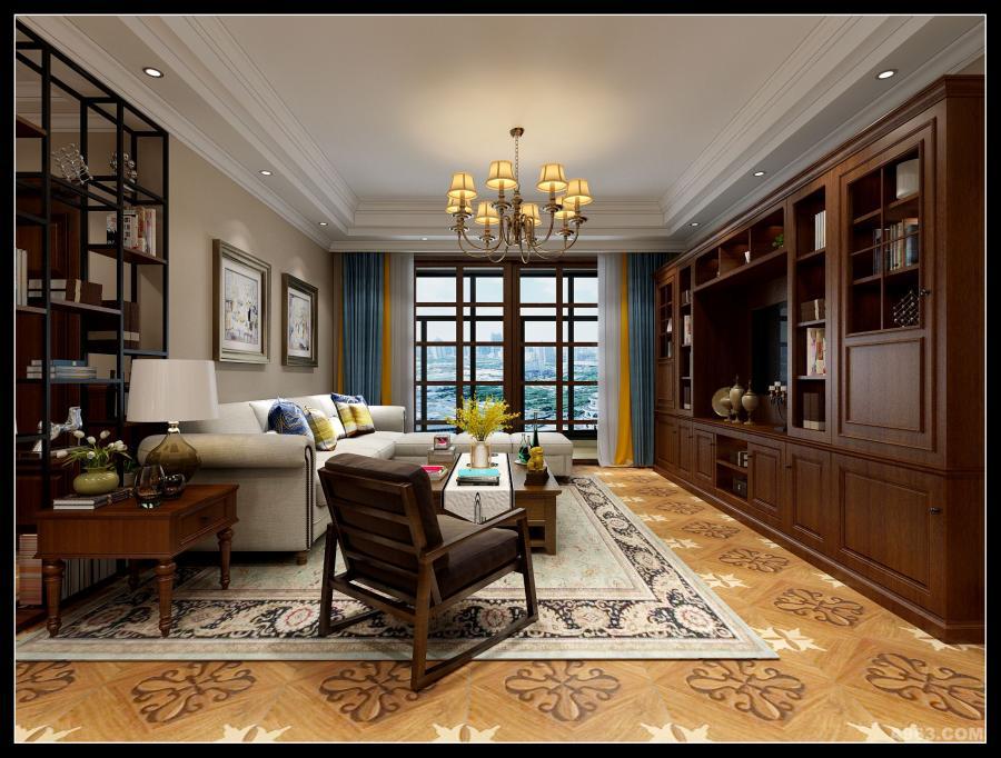 客厅,蔡林设计,文峰宝邸,美式