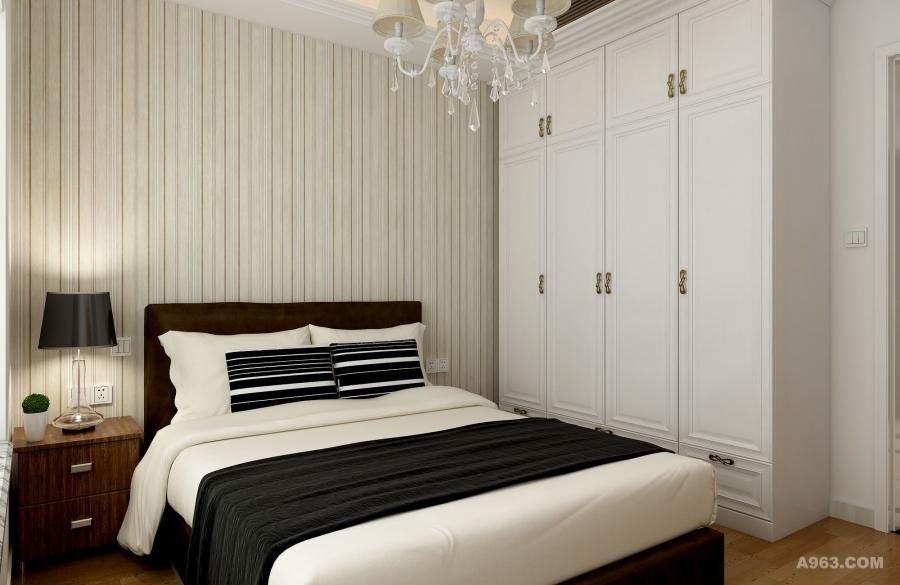 次卧在颜色上与整体保持一致,又略加改动,把卧室背景墙改用简单的竖行线条,既同主卧做了区分,还保留了北欧设计风格的特点。