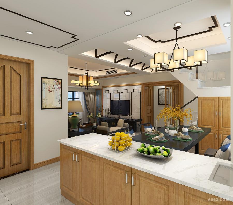 开放式厨房与客餐厅融为一体,移步借景法.