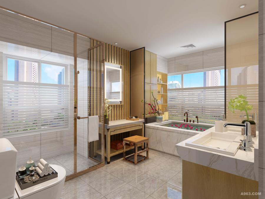 主卫生间采用日式禅意的手法进行处理,使空间通透而不失优雅.