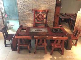 百年老船木棋盘茶台 独一无二风化博古架 一桌二架茶室套装
