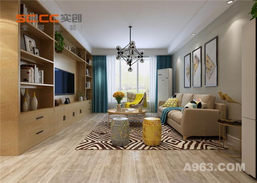 实创装饰丨紫晶悦城93㎡两居室北欧风格装修-客厅整体装修效果图