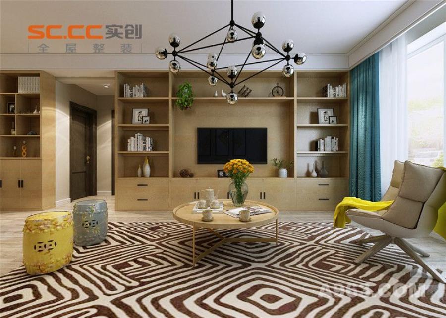 实创装饰丨紫晶悦城93㎡两居室北欧风格装修-客厅电视背景墙装修效果图