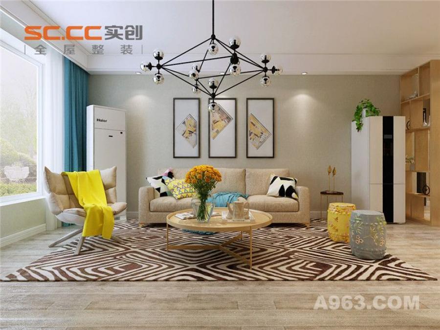 实创装饰丨紫晶悦城93㎡两居室北欧风格装修-客厅沙发背景墙装修效果图