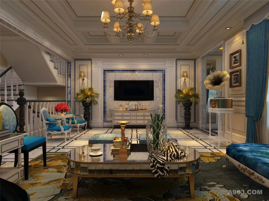 青岛别墅设计一层客厅